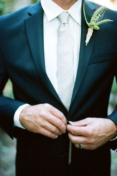 classic groom look with boutonniere #groom #groomattire #weddingchicks http://www.weddingchicks.com/2014/03/12/vintage-garden-wedding-ideas-3/