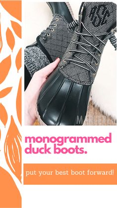 Monogrammed Duck Boots for Women from Marleylilly take the latest cool-weather trend to the next level with customizable embroidered initials. Whether you're leaf peeping on the trails or running errands, these duck boots keep your toes toasty and your look on point. Choose from the classic look of brown faux leather, a trendy black herringbone plaid or fun quilted duck boots to add brightness to any rainy day.