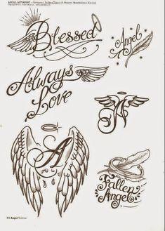 Leles Tattoo: 230 Engel Tattoos Designs Source by Dope Tattoos, Body Art Tattoos, Sleeve Tattoos, Stencils Tatuagem, Tattoo Stencils, Wing Tattoo Designs, Angel Tattoo Designs, Alas Tattoo, Baby Memorial Tattoos