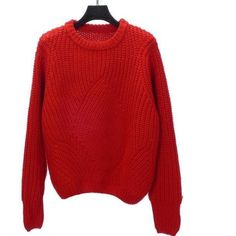 Red Casual Chunky Knit Sweater ($55) ❤ liked on Polyvore featuring tops, sweaters, over sized sweaters, red top, thick knit sweater, textured sweater and oversized chunky knit sweater