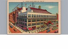 Postcard New York City Madison Square Garden 8th Avenue Vintage Linen