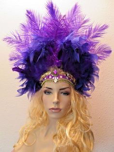 Light Pink All Feathers Wig Headpiece Showgirl Burlesque Unisex Costume