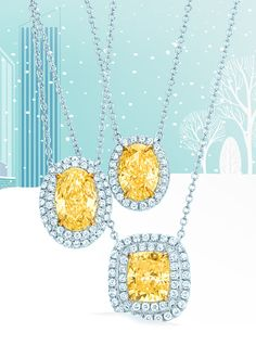 Shine bright with Tiffany Soleste® pendants in platinum and 18k gold with yellow and white diamonds.