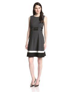 Calvin Klein Women's Petite Sleeveless Belted Color Block Dress, Charcoal Multi,