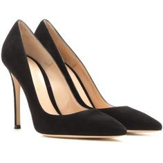 Gianvito Rossi Gianvito 105 Suede Pumps (€620) ❤ liked on Polyvore featuring shoes, pumps, heels, black, high-heel, high heel pumps, black high heel pumps, high heeled footwear, suede shoes and high heel shoes