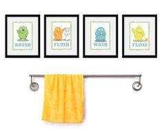 Children's Decor Monsters for the Bathroom - Kids Bathroom Art - Four 8 x 10  Bathroom Monster Child Prints. $45.00, via Etsy.