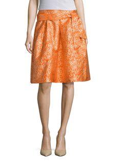 Jacquard Self Sash A Line Skirt by Elorie at Gilt