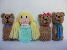 Goldilocks and the Three Bears - 4 Hand Knitted Finger Puppets  - NEW