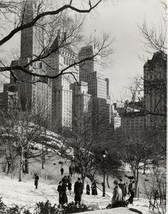Winter in Central Park (looking southeast), Andreas Feininger Photograph Collection (gift of the photographer). New-York Historical Society. Old Pictures, Travel Pictures, Old Photos, Vintage Photos, Vintage Stuff, New York Central, Central Park, Bauhaus, New York Snow