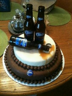 Grooms cake. Could be a more simple sheet cake. Caramel as spilled beer.