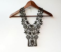 Lace Jewelry Olive Green Lace Necklace Body por aynurdereli