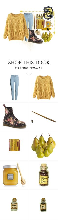 """Hufflepuff - Common Room"" by clarychase99 ❤ liked on Polyvore featuring H&M, Chicnova Fashion, Dr. Martens, Pier 1 Imports, Laura Mercier and Dollhouse"
