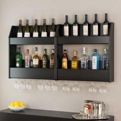 Shop Prepac Furniture Floating Wine and Liquor at Lowe's Canada online store. Find Wine Storage at lowest price guarantee. Bar Shelves, Wine Shelves, Wall Bar Shelf, Wall Shelving, Apartment Bar, Wine Glass Shelf, Wine Glass Rack, Glass Shelves, Liquor Storage