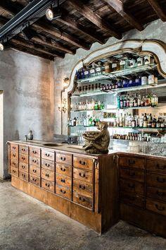 Basement bar inspiration 😬Sacripante Gallery And Bar, Rome, Italy - The Cool Hunter Cafe Bar, Cafe Restaurant, Restaurant Design, Butcher Restaurant, Counter Design, Bar Counter, Decoration Restaurant, Italian Bar, Bar A Vin