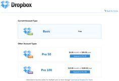 Dropbox Pricing Table UX #pricingtable #ux #design #subscription #upgrade #dropbox