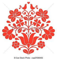 Vector - Kalocsai red embroidery - Hungarian - stock illustration, royalty free illustrations, stock clip art icon, stock clipart icons, logo, line art, EPS picture, pictures, graphic, graphics, drawing, drawings, vector image, artwork, EPS vector art