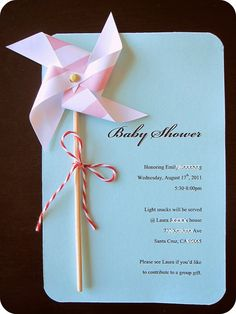 DIY Pinwheel Invitation Kit - Makes 8 super cute card, could use for other occasions as well.