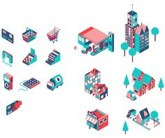 For UK based creative agency Wash, we made this big isometric illustration and some icons. Graphic Artwork, Graphic Design Illustration, Illustration Art, Isometric Grid, Isometric Design, Perspective Art, Pictogram, Motion Design, Clipart