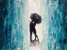 Couple kissing in the rain  umbrella silohouette by JMJARTSTUDIO, $99.00