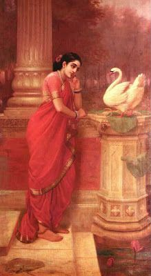 Raja Ravi Verma - Princess Damayanthi Talking with Royal Swan about Nalan