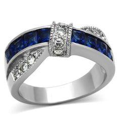 Thin Blue Line Women's 1.75 Ct Blue Montana Sapphire Cz Stainless St – ThinRedBlueLine