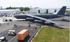 Boeing B-52H Stratofortress from the 93rd Bomb Squadron, Barksdale Air Force Base, La., gets a tug through the parking area at the Berlin Air Show. This is the first Air Force Reserve Command unit has one of its bombers taking part in the international event, which runs June 8-13, 2010. (Courtesy photo)
