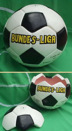 This football is so realistic we have to keep it out of the way of children who want to take it for a game! It's slightly larger than life but perfectly reproduced. Part of the top comes off to make the lid. This ball is Bundes-Liga