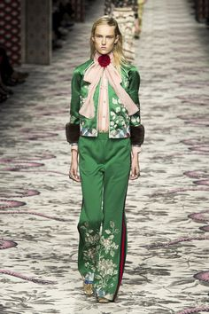 gucci - deep jewled tone green with flowers