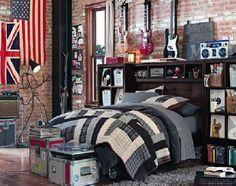 a little bit rock n roll boy's bedroom...need that lamp