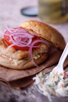 The Deen Bros Fried Halibut Sandwiches Sandwich Recipes, Deli Sandwiches, Fish Sandwich, Sandwich Ideas, Seafood Recipes, Halibut Recipes, Seafood Dishes, Recipe Details, Light Recipes
