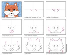 This fox face drawing tutorial will help students fill their paper with a large, symmetrical face, and leave all kinds of coloring options. a fox How to Draw a Fox Face · Art Projects for Kids Art Drawings For Kids, Drawing For Kids, Easy Drawings, Art For Kids, Drawing School, Drawing Lessons, Art Lessons, Drawing Tips, Drawing Tutorials
