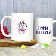 Pretty unicorn mug from Pink and Turquoise Unicorn Kids, Unicorn Face, Treat Yourself, Birthday Presents, Unique Gifts, Ceramics, Mugs, Rainbows, Pretty