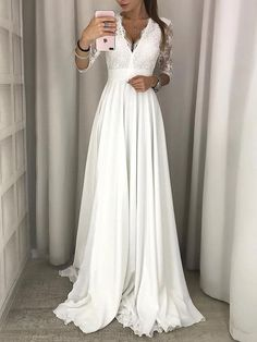 Charming A Line V neck White Wedding Dresses, Half Sleeves Lace Chiffon Wedding Gowns, 529 sold by elisepromdresses on Storenvy Half Sleeve Wedding Dress, Chiffon Wedding Gowns, Half Sleeve Dresses, Wedding Dress Trends, Modest Wedding Dresses, Maxi Dress With Sleeves, The Dress, Half Sleeves, Lace Chiffon