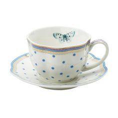 Šálek na čaj * bílý porcelán s malovanými modrými puntíky.