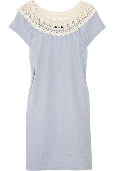 A.P.C. crocheted-neck cotton-chambray dress