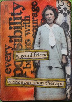 ATC Altered Playing Card I made while taking Mary Jane Chadbournes of Artful… Atc Cards, Paper Cards, Mixed Media Collage, Collage Art, Altered Books, Art Journal Pages, Art Journals, Artist Card, Bookmarks