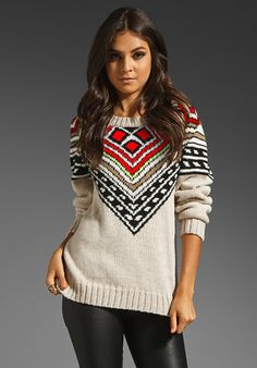 MARA HOFFMAN Intarsia Pullover in Multi at Revolve Clothing - with leather pants!