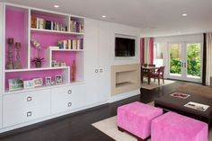 I love the creative dividers and love the purple color splashed all around the house