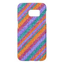 Cute Colorful Faux Glitter Diagonal Stripe Pattern Samsung Galaxy S7 Case