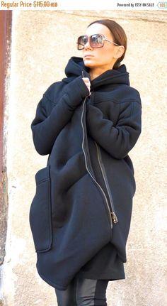 VERKOOP nieuwe bekleed warme asymmetrische Extravagant zwart