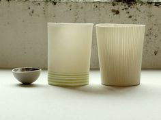 Ceramics by Justine Allison at Studiopottery.co.uk - 2013. Relief vessel and stripe vessel