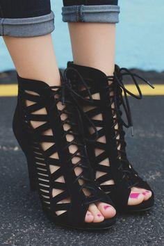 Beston Women's Zipper Lace Up Cut Out Stiletto Shoes #spring #summer #sandals #lace #up #cutout #peep #toe #trend