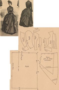 Der Bazar 1886: Mourning dress for matrons from black cashmere with black crépe trimmings; 1. side drapery, 2. back drapery in half size, 3. bodice front part, 4. and 6. side gores, 5. belt, 7. back part, 8. collar in half size, 9. and 10. sleeve parts, 11. cuff in half size