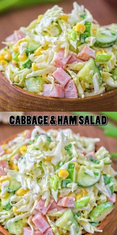 Made with fresh cabbage, cucumbers, ham, corn and scallions, this tasty and crunchy Cabbage and Ham Salad makes a quick lunch or side dish. Best Salad Recipes, Lunch Recipes, Healthy Dinner Recipes, Low Carb Recipes, Cooking Recipes, Ham Recipes, Cucumber Recipes, Healthy Food, Simple Salad Recipes