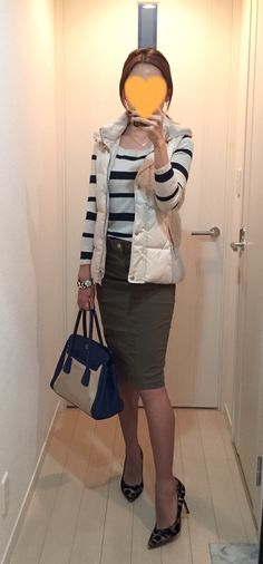 Vest: ZARA, Striped top: Des Pres, Khaki skirt: Deuxieme Classe, Bag: PRADA, Leopard pumps: Fabio Rusconi