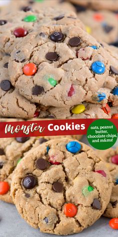 Classic monster cookies with oats, chocolate chips, peanut butter and m&ms! Plus lots of ideas for additional add-ins! These are chewy & soft and you can make them BIG or small! #monstercookies #cookies #christmascookies #cookieexchange