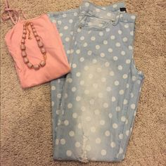 Adorable polka dot distressed jeans Size small. Fits a 0-1 best. Light colored Jean with white polka distress and a distressed look. Only worn a few times and in great condition! Jeans are soft and very comfortable! Bought from a local boutique but sadly don't fit anymore. Jeans Skinny