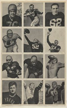 Issued by Bowman Gum Company. Sheet of 12 uncut football cards, from the Bowman Football series (R407-1) issued by Bowman Gum, 1948. The Metropolitan Museum of Art, New York. The Jefferson R. Burdick Collection, Gift of Jefferson R. Burdick (Burdick 327, R407-1.4) #MetGridironGreats
