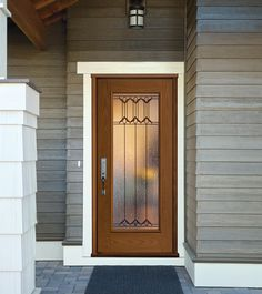 Masonite door, Expo Park Hill, but with full side lites Mastic Siding, House Projects, Diy Projects, Entry Doors With Glass, Home Upgrades, Glass Texture, Beveled Glass, Exterior Doors, Dream Houses