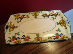 ANTIQUE JOHN MADDOCK & SONS ENGLAND VANITY FLORAL TRAY [*172] #JOHNMADDOCK #DECO
